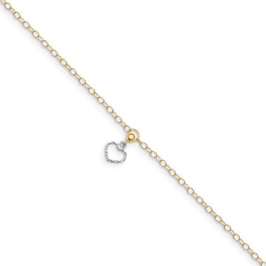 Quality Gold 14k Two Tone Polished Heart Dangle  Anklet