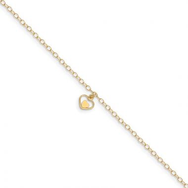 Quality Gold 14k Polished Hearts  in ext Anklet