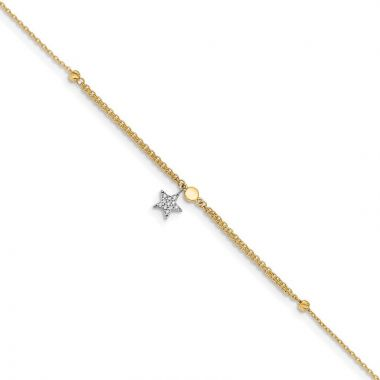 Quality Gold 14k Two Tone CZ and Star  Anklet