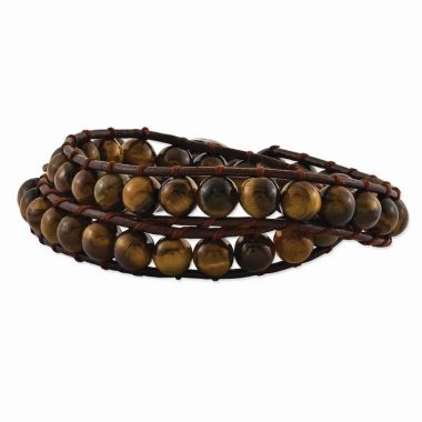 Quality Gold 6mm Brown Beads & Leather Cord Multi Wrap Bracelet