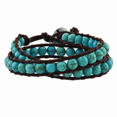 Quality Gold 6mm Dyed Turquoise Leather Cord Multi Wrap Bracelet