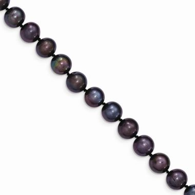Quality Gold 14k Black Near Round Freshwater Cultured Pearl Bracelet