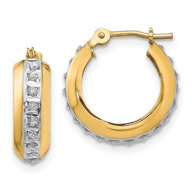 Quality Gold 14kDiamond Fascination Round Huggy Hinged Hoop Earrings