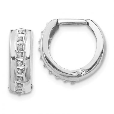 Quality Gold 14k White Gold Diamond Fascination Round Huggy Hoop Earrings