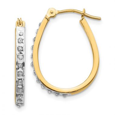 Quality Gold 14k Yellow & Rhodium Diamond Oval Hinged Hoop Earrings