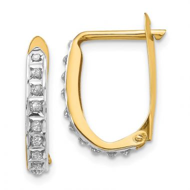 Quality Gold 14k Diamond Fascination Leverback Hinged Hoop Earrings