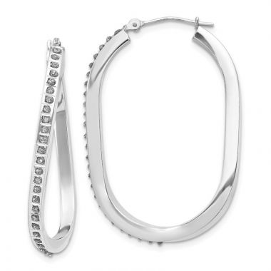 Quality Gold 14k White Gold Diamond Oval Twist Hinged Hoop Earrings