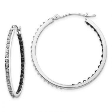 Quality Gold 14k White Gold Diamond Fascination Diamond Hinged Hoop Earrings