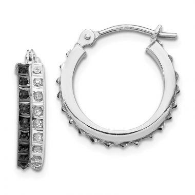 Quality Gold 14k White Gold Diamond Fascination Diamond Round Hinged Hoop Earrings