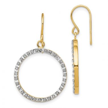 Quality Gold 14k Yellow Gold Diamond Fascination Open Round Dangle Hoop Earrings