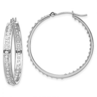 Quality Gold 14k White Gold Diamond Fascination Hoop Earrings