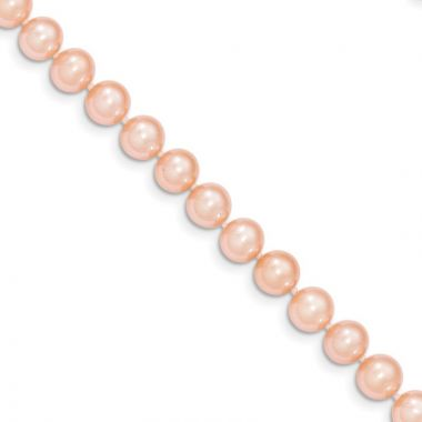 Quality Gold 14k Pink Near Round Freshwater Cultured Pearl Bracelet