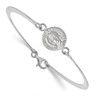 Quality Gold Sterling Silver Rhodium-plated Hollow Greek Theme Coin Bracelet