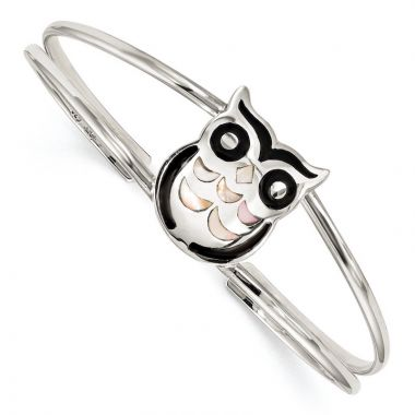 Quality Gold Sterling Silver MOP and Onyx Owl Bangle Bracelet