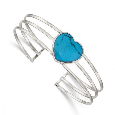 Quality Gold Sterling Silver Simulated Turquoise Heart Cuff Bangle Bracelet