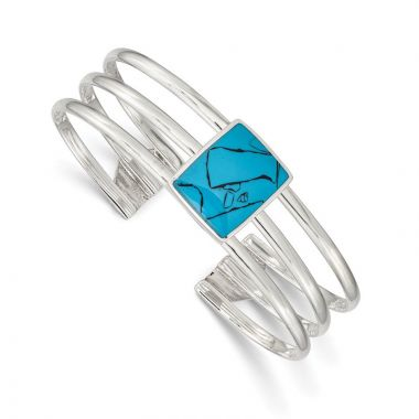 Quality Gold Sterling Silver Simulated Turquoise Three Strand Cuff Bangle Bracelet