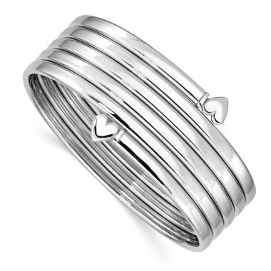 Quality Gold Sterling Silver Rhodium-plated Bangle Bracelet