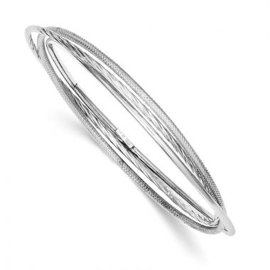 Quality Gold Sterling Silver Rhodium Twisted Textured Intertwined Bangle Bracelet