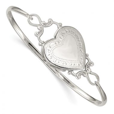 Quality Gold Sterling Silver Heart Locket Flexible Bangle Bracelet
