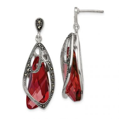 Quality Gold Sterling Silver Marcasite & Swarovski Elements Dangle Post Earrings