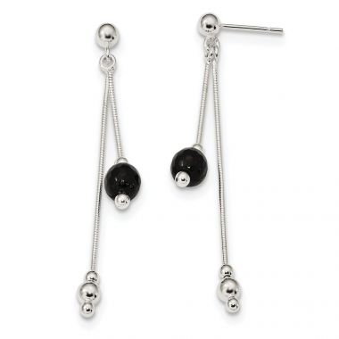 Quality Gold Sterling Silver Black Beads Post Dangle Earrings
