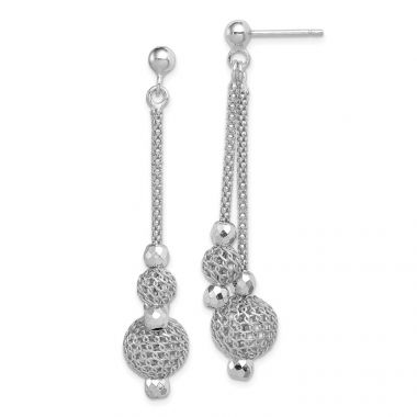Quality Gold Sterling Silver Rhodium-plated Beaded Post Dangle Earrings