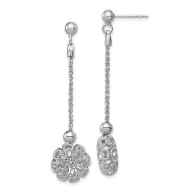 Quality Gold Sterling Silver Rhodium-plated Polished &  Flower Post Dangle Earrings