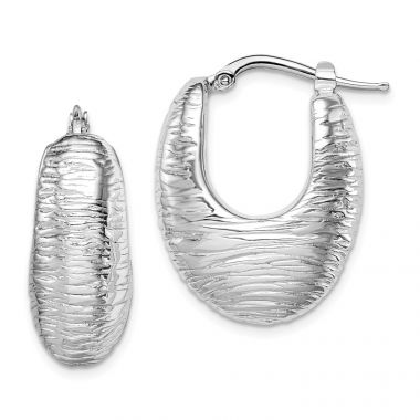 Quality Gold Sterling Silver Rhodium-plated Polished Hollow Hoop Earrings