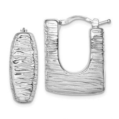 Quality Gold Sterling Silver Rhodium-plated Polished Textured Hollow Hoop Earrings