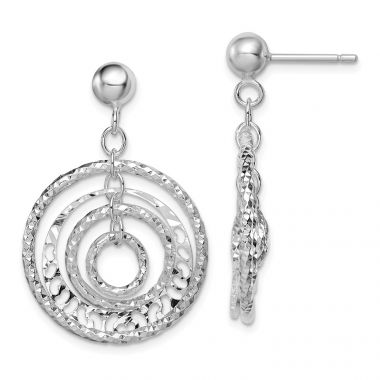 Quality Gold Sterling Silver Rhodium-plated Textured Circle Post Dangle Earrings