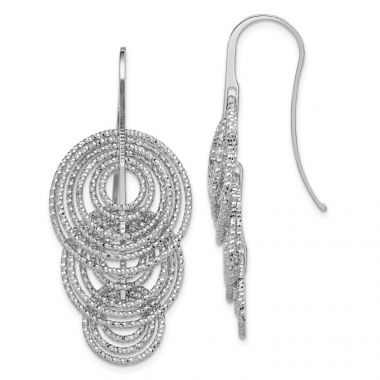 Quality Gold Sterling Silver Rhodium-plated Dangle  Circles Shepherd Hook Earrings