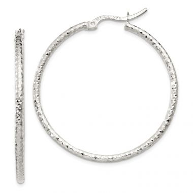 Quality Gold Sterling Silver Polished  Large Hoop Earrings