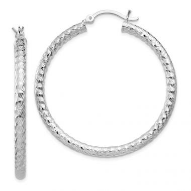 Quality Gold Sterling Silver Polished Diamond-cut Hinged Hoop Earrings