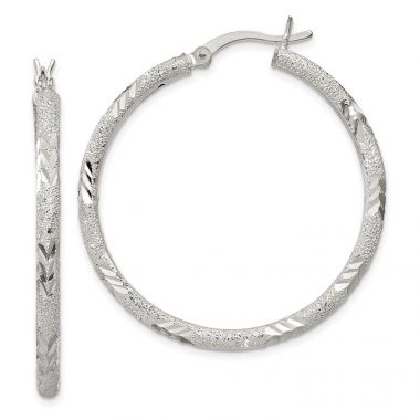 Quality Gold Sterling Silver Polished Diamond-cut Laser-cut Hinged Hoop Earrings