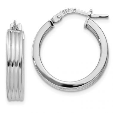 Quality Gold Sterling Silver Rhodium-plated Grooved Hoop Earrings