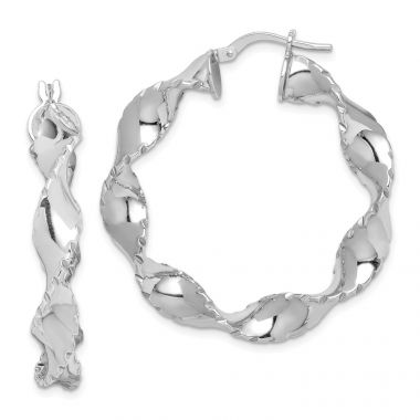 Quality Gold Sterling Silver Rhodium-plated Twisted Ridged Edge Hoop Earrings