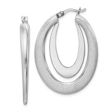 Quality Gold Sterling Silver Rhodium-plated Polished & Brushed Hoop Earrings