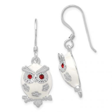 Quality Gold Sterling Silver Rhodium-plated Enamel Red CZ Owl Dangle Earrings