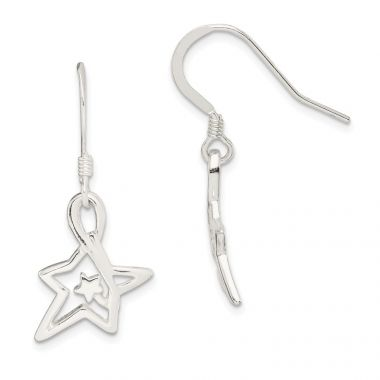 Quality Gold Sterling Silver Polished Diamond-cut Star Dangle Earrings