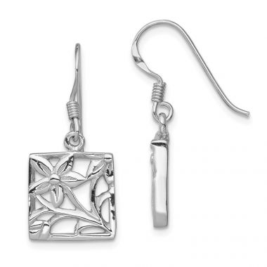 Quality Gold Sterling Silver Rhodium-plated Polished Square Flower Dangle Earrings