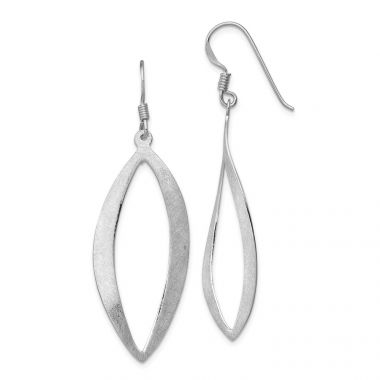 Quality Gold Sterling Silver Rhodium-plated Polished & Scratch Texture Dangle Earrings