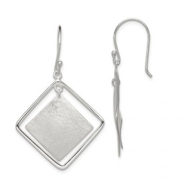 Quality Gold Sterling Silver Polish. Text. Squares Dangle Shepherd Hook Earrings