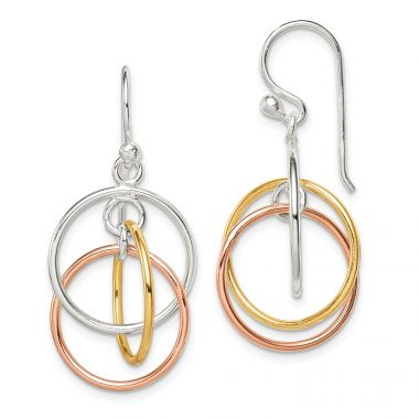 Quality Gold Sterling Silver 14K Gold & Rose Gold Vermeil Circles Dangle Earrings