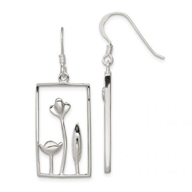 Quality Gold Sterling Silver Rectangle Flower Dangle Earrings