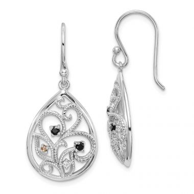 Quality Gold Sterling Silver Rhodium-plated Polished & Textured   CZ Dangle Earrings