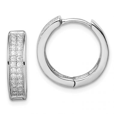 Quality Gold Sterling Silver Rhodium-plated 2-row Pavé Hinged Hoop Earrings