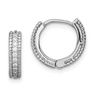 Quality Gold Sterling Silver Rhodium-plated Polished CZ Children's Hinged Hoop Earrings