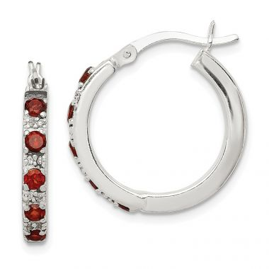 Quality Gold Sterling Silver Polished Red and Clear CZ Hinged Hoop Earrings