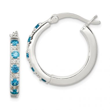 Quality Gold Sterling Silver Polished Blue and White CZ Hinged Hoop Earrings