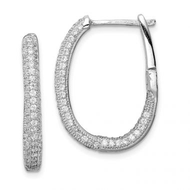 Quality Gold Sterling Silver Rhodium-plated CZ In & Out Hinged Post Hoop Earrings